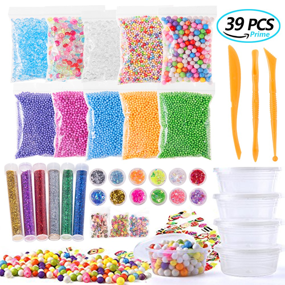 Uroccia Slime Supplies Kit, 39 Pack Slime Making Kit For Girls Boys Slime Party Included Fishbowl Beads, Foam Balls, Colorful Sugar Paper, Storage Containers, Fruit Slices, Confetti - Slime Making Art