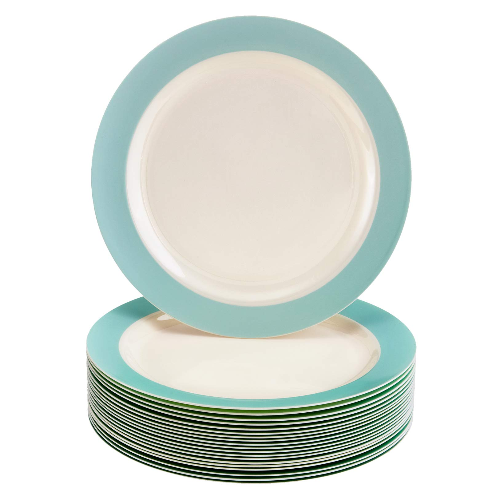 DISPOSABLE SIDE PLATES | Heavy Duty Plastic Dishes | Elegant Fine China Look | Pastel Collection - Turquoise (40 PC - 7.5'') by Silver Spoons