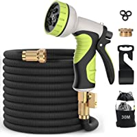 Garden Hose, Flexible Expandable Anti-Leakage Lightweight Hose with Solid Brass Fittings 9 Function Spray Nozzle (50Feet…
