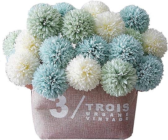Calcifer - Ramo de flores artificiales para decoración de casa, jardín, boda, fotografía, 10 unidades, 25 cm azul: Amazon.es: Hogar