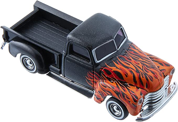 Busch 48287 Chevrolet Pick Up Black with Orange and Red Flames HO Model Car