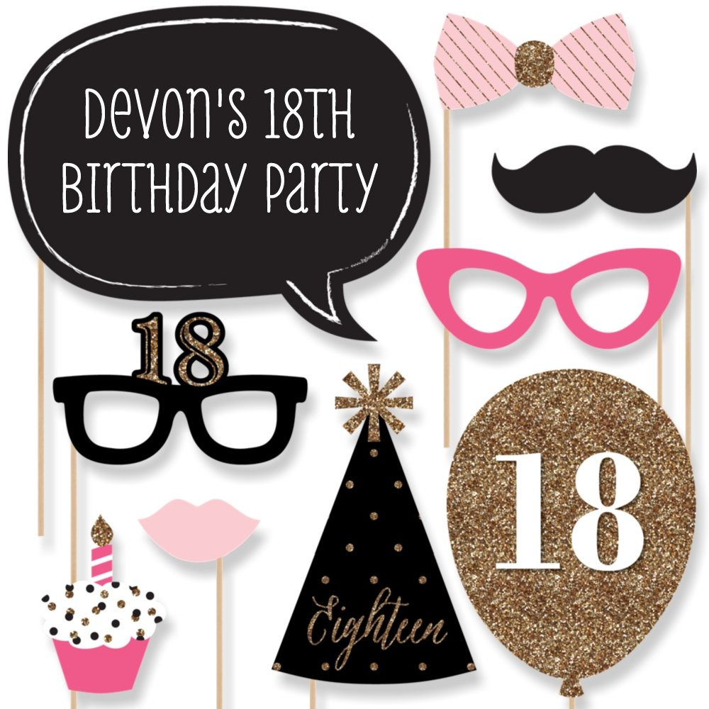 Big dot of happiness custom chic 18th birthday pink black and gold birthday photo booth props kit personalized eighteen birthday party decorations