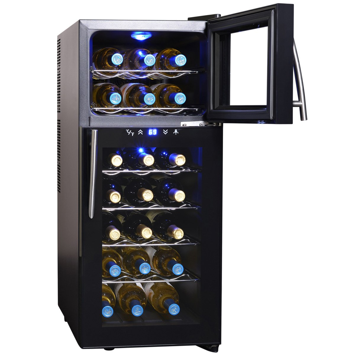 amazoncom newair aw210ed streamline 21 bottle dual zone wine cooler black appliances