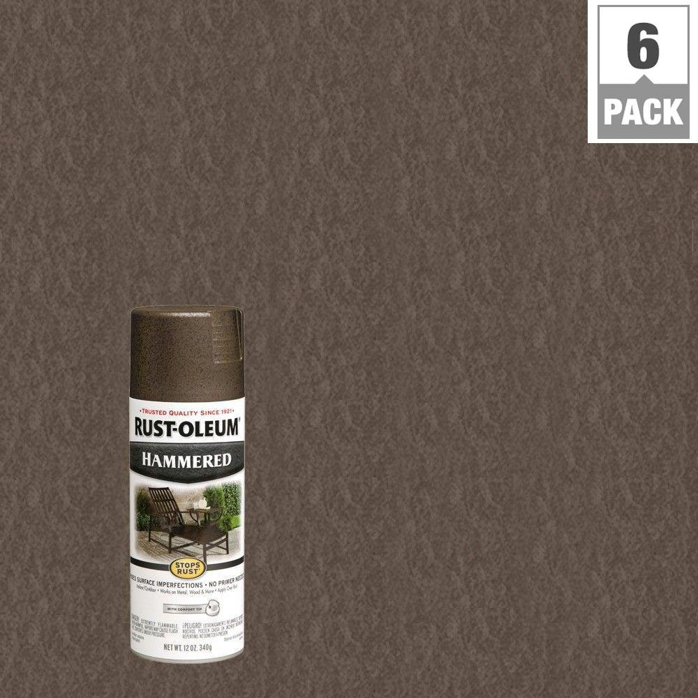 12 oz. Dark Bronze Protective Enamel Hammered Spray Paint (6-Pack)