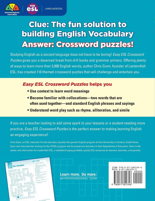 amazon easy esl crossword puzzles chris gunn words language
