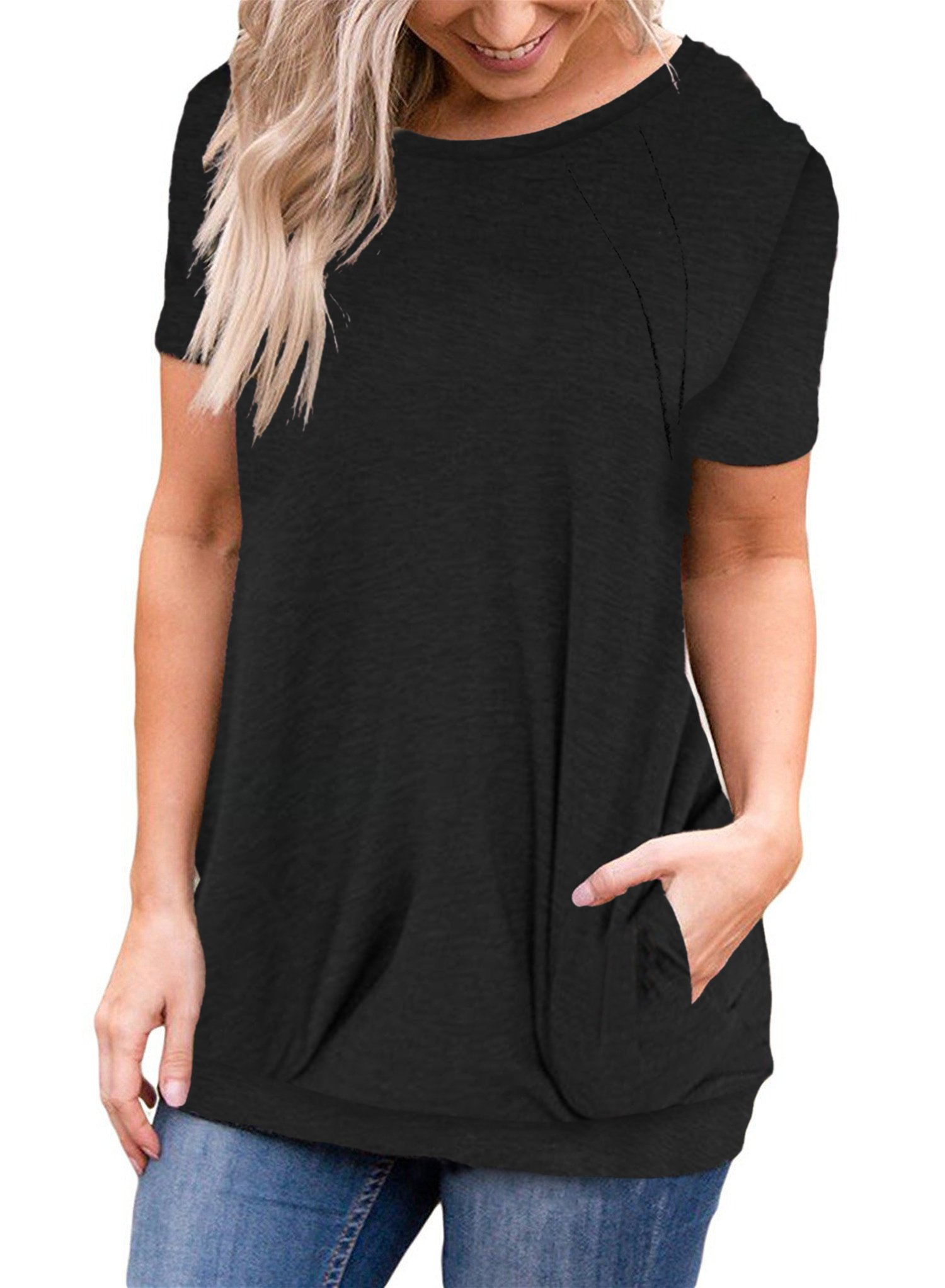 onlypuff Summer Basic Tops for Women Round Neck Batwing Short Sleeve Tunic Tops Solid Color Black XL