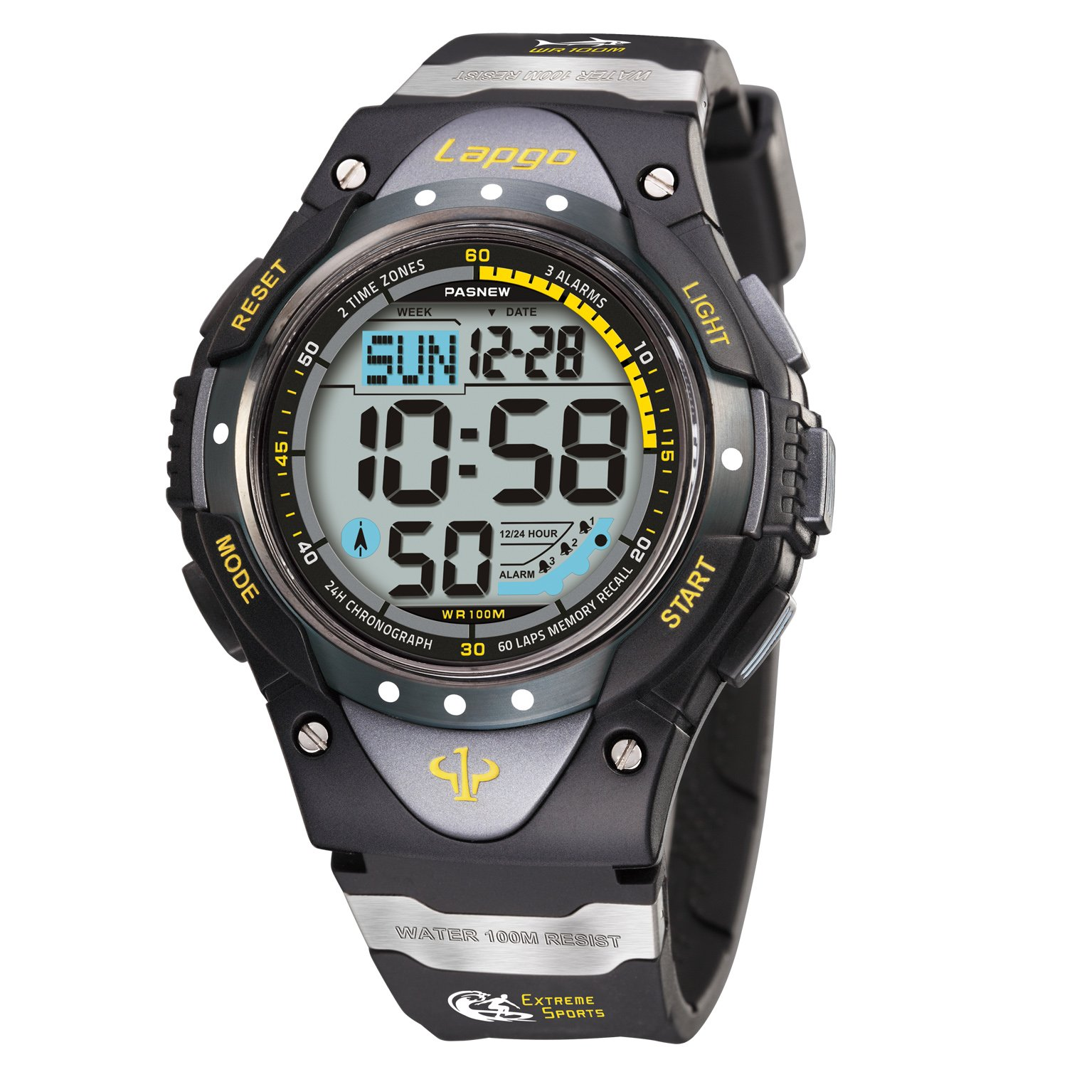 PASNEW Boys' Wrist Watch Waterproof Digital Sports Men Watches 1018d (Black Color) by PASNEW