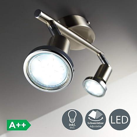 Lámpara de techo con focos giratoria incl. 2 x 3W bombillas LED GU10 I Aplique de salón I luz blanco cálido 3000K I IP20 I 250lm