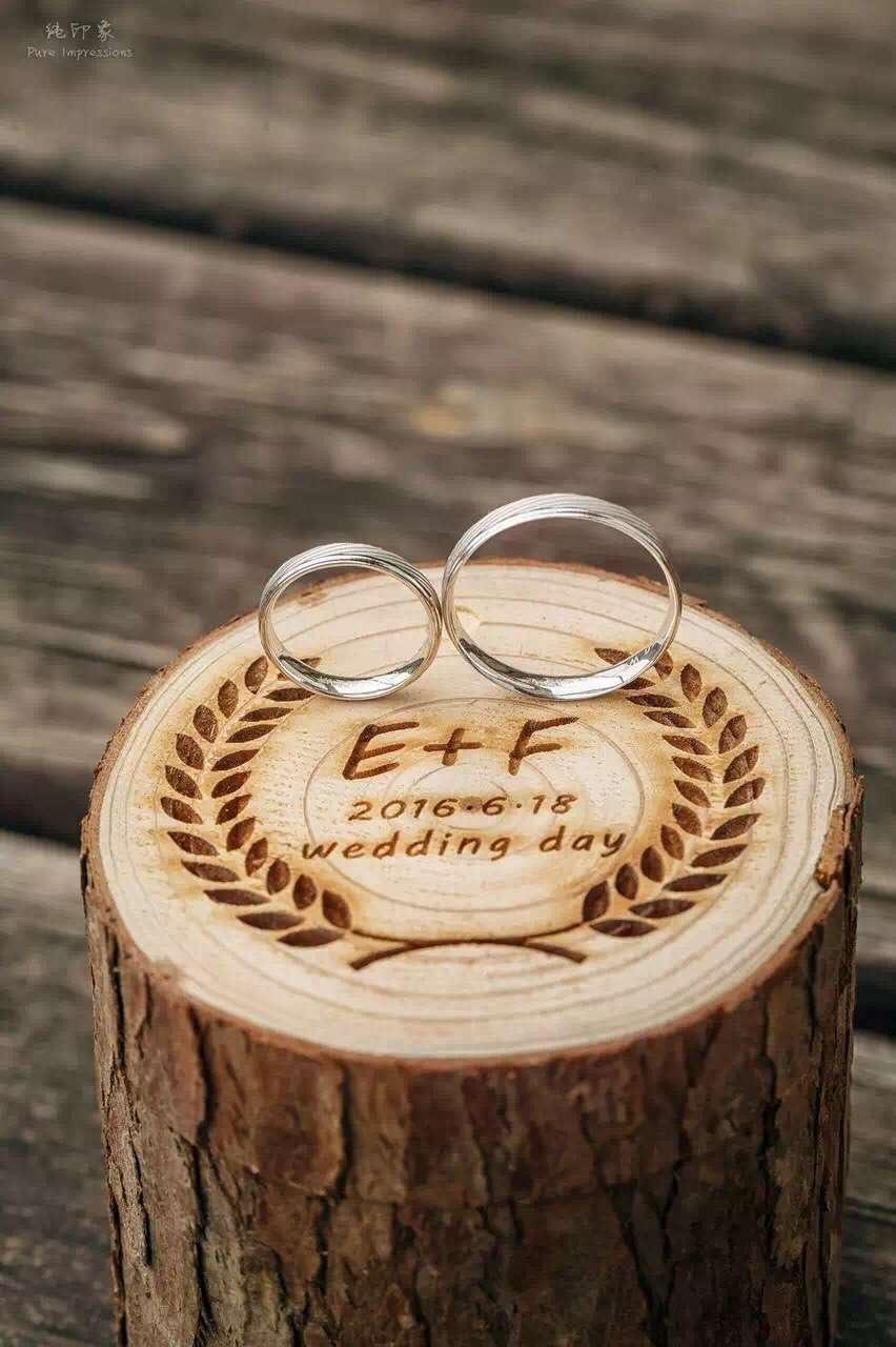 Anillos de Boda Caja de madera personalizada inicial carta y fecha Anillo de madera Beare Caja para aniversario de ceremonia Regalos: Amazon.es: Hogar