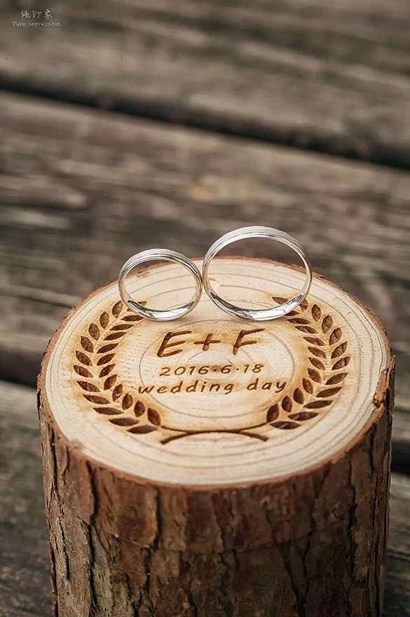 Anillos de Boda Caja de madera personalizada inicial carta y fecha ...
