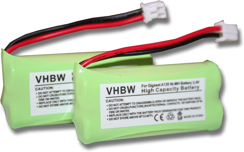vhbw 2X Baterías NI-MH 700mAh 2.4V para Siemens Gigaset A120, A140 etc. & UNIVERSUM CL15, SL15 sustituye V30145-K1310-X359, V30145-K1310-X383, etc.