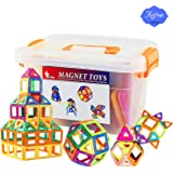 Magnetic Tiles Building Blocks Set,STEM Building Block Preschool Educational Construction Kit DIY Creative 3D Magnetic Toys For Boys Girls Kids Toddlers Children (64PCS)