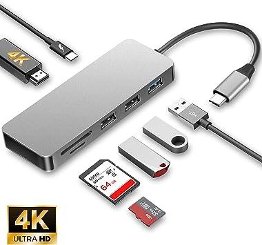USB C Hub for MacBook Pro 2016//2017//2018-7 in 1 Adapter Multiport Reader