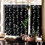 Lichterkettenvorhang mit 300 LEDs für innen und außen - 3 x 3 Meter   Lichterkette mit 8 Modi warm-weiß - kein austauschen der Batterien   NICHT batterie-betrieben