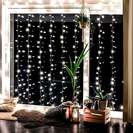Lichterkettenvorhang mit 300 LEDs für innen und außen - 3 x 3 Meter | Lichterkette mit 8 Modi warm-weiß - kein austauschen de