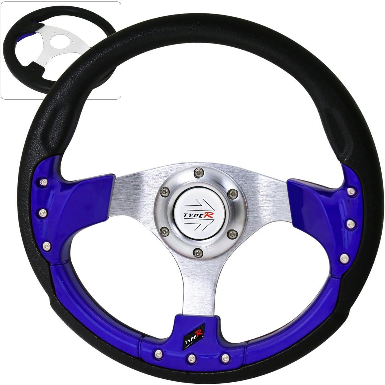 Universal 9 Bolt Design 320MM Silver Center Blue Fusion Style Godsnow Steering Wheel