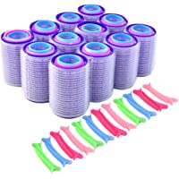 60pcs Rollers for Hair 3Size (40mm,30mm,25mm,12pcs per size) Multicolor Plastic Duck Clips 24pcs Self Grip Hair Rollers…