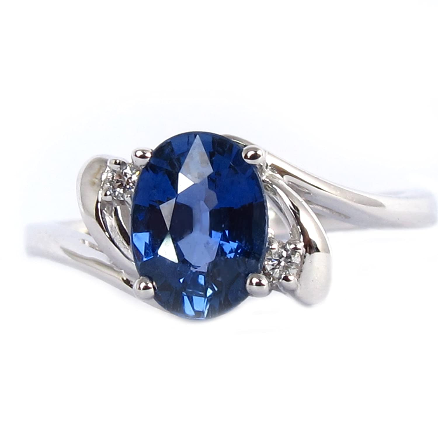 7f28d117ef1596 1.14 Carats Natural Blue Sapphire Oval Cut 7.40x5.45mm 18k White Gold Ring  Size 6, Diamond 0.03ct: Amazon.ca: Jewelry