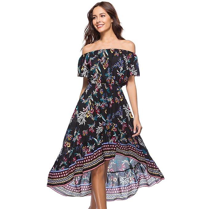 6f20a4f93d1 Cinnamou Vestido Sin Hombros Largo Mujer Estampado de Flores Maxi Boho  Verano con Cuello en V Casual para Fiesta Vacación Playa  Amazon.es  Ropa y  ...