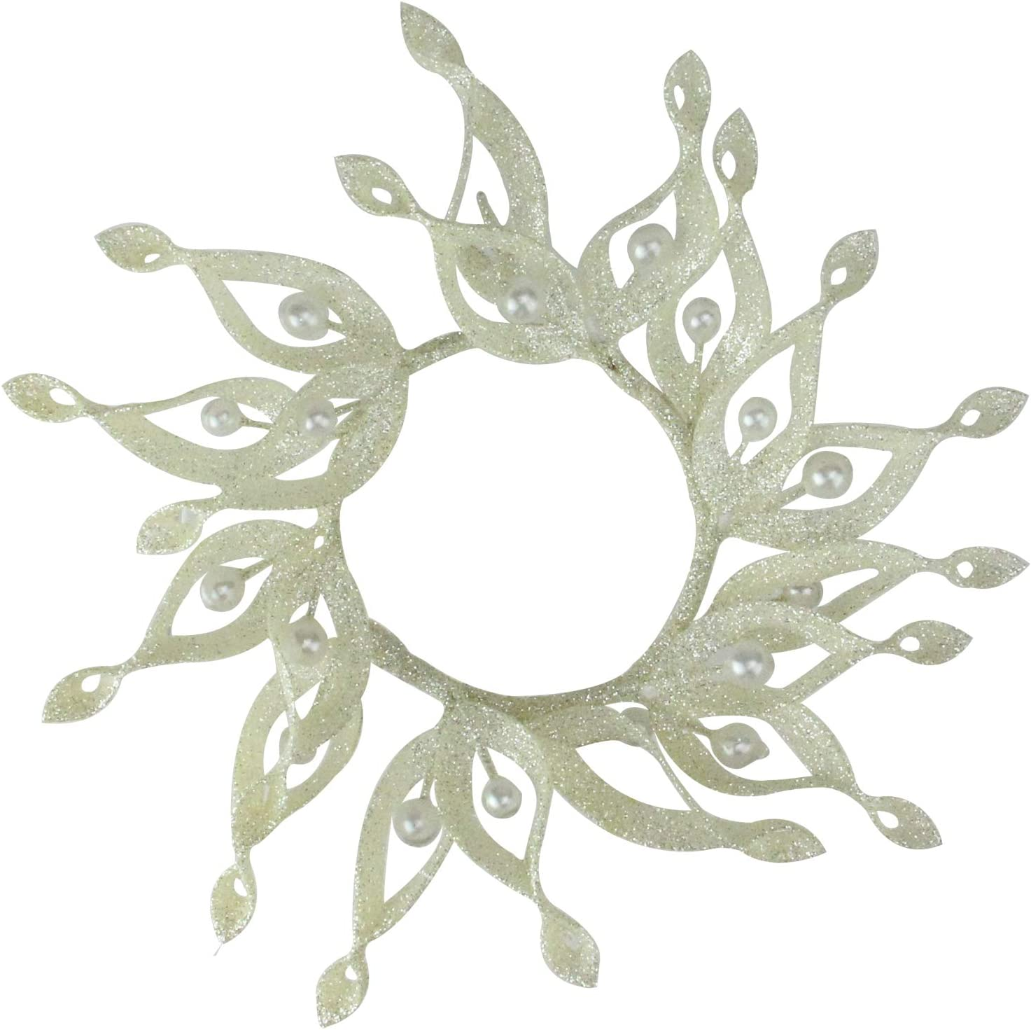 Melrose 9 Sparkling Whites Glittered White Christmas Candle Ring Holder