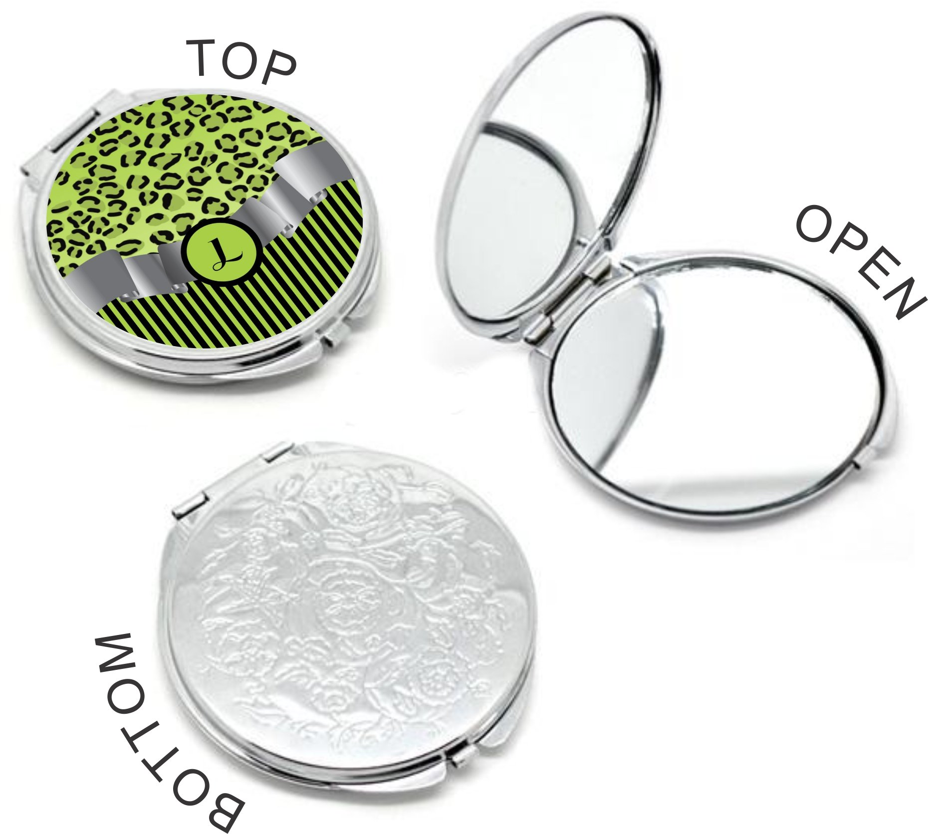 Rikki Knight Letter''L'' Lime Green Leopard Print Stripes Monogram Design Round Compact Mirror