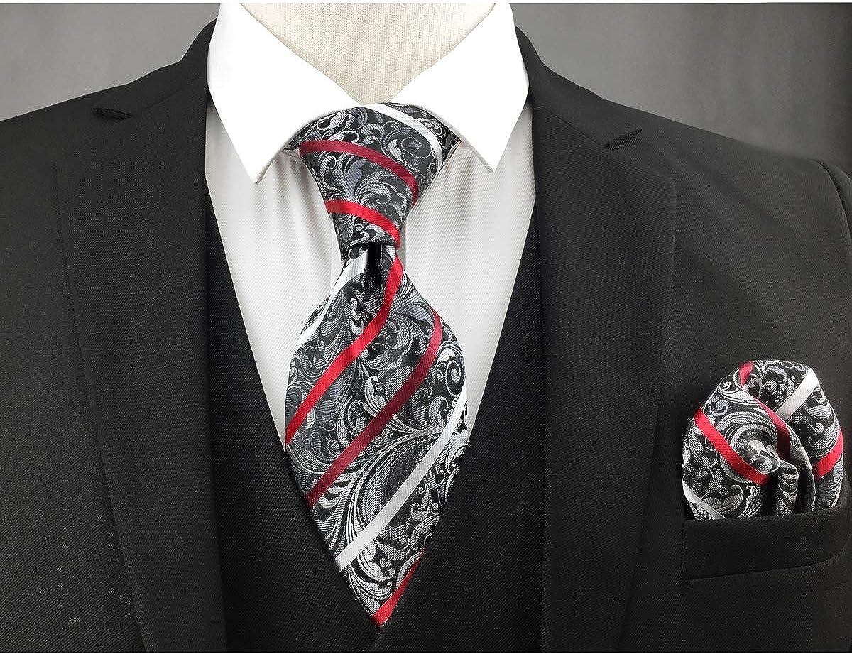 Shlax/&Wing Designer Geometrico Cravatta da uomo Rosso Nero Binaco Nozze Nuovo