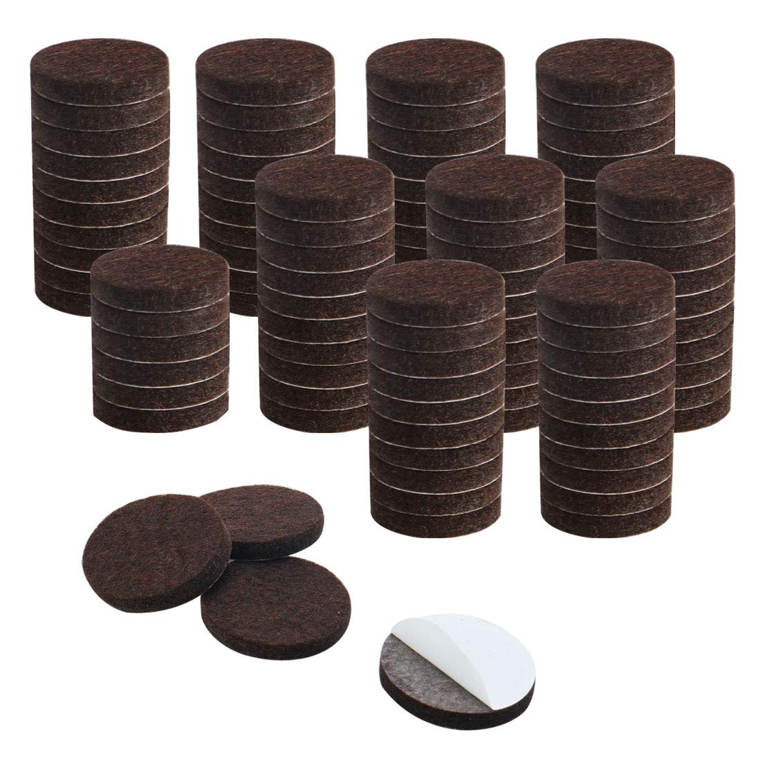 uxcell 100pcs Furniture Felt Pads Round 1 1/4 inches Self-stick Non-slip Anti-scratch Pads for Cabinet Chair Feet Leg Protector Brown