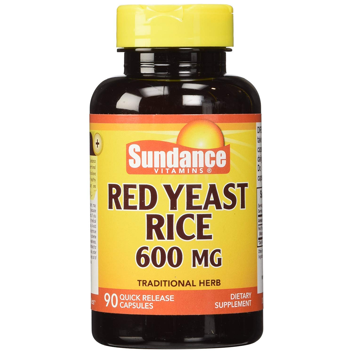 Sundance Red Yeast Rice 600 mg - 90 Quick Release Capsules, Pack of 5