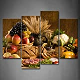 Brown Fresh Food Grape Apple Fruit In Basket Bread Oion Little Tomato Sweet Pepper Cauliflower Wheat Gather On The Table Wall Art Painting The Picture Print On Canvas Food Pictures For Home Decor Decoration Gift