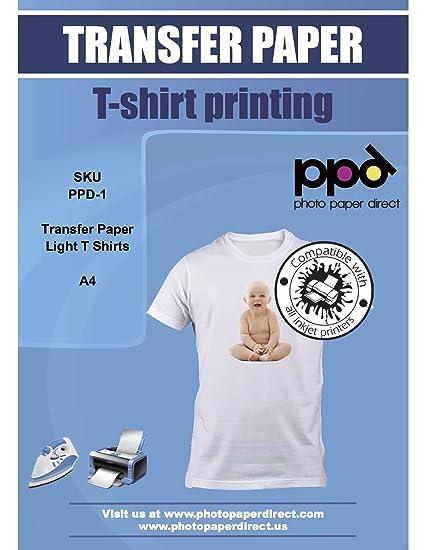 PPD A4 Papel transfer para hacer camisetas. Impresión en camiseta o tela clara x 20 hojas
