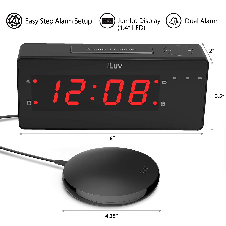 c35b8996c9ce iLuv TimeShaker Wow - Vibrating Alarm Clock for Heavy Sleepers, Bed Shaker,  LED Digital Display Dual Alarm, Super Loud Alarm Clock Sound, LED Alert  Light, ...
