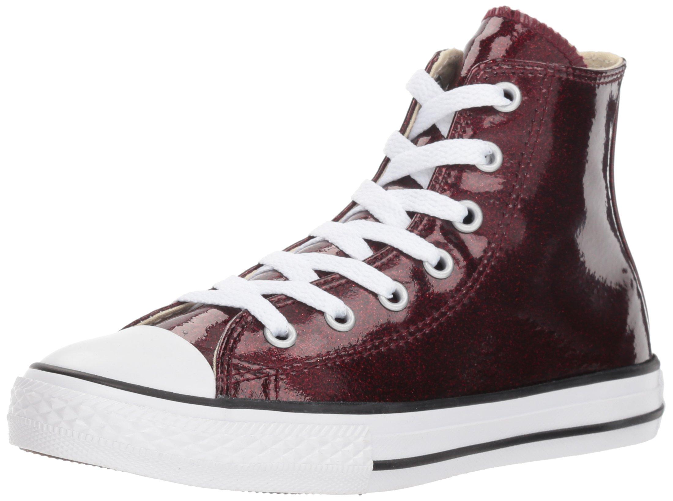 Converse Girls' Chuck Taylor All Star Glitter High Top Sneaker, BrickNatural, 2 M US Little Kid