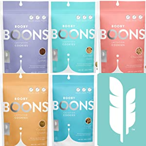 Booby Boons Lactation Cookies Bundle. Enjoy a 5 pack selection of Boons! Award winning Booby Boons are made without fenugreek, soy, palm products or gluten! A great gift! The milk's on the way!