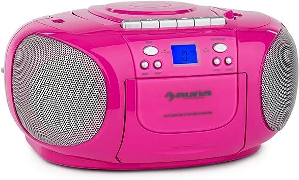 auna BoomGirl - CD-Radio, Minicadena, Radiocassette, CD/MP3 programable, Platina Cassette, Radio FM, Puerto USB Compatible con MP3, AUX, Pantalla LCD, ...