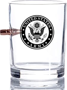 Army Bullet Old Fashion US Army Whiskey Rocks Glass – Hand Blown Glasses –.308 Bullet – 8 Oz. Army Gifts