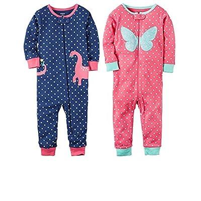 04cea3370f Carter s Baby Girls 2-Pack Cotton Footless Zipper Pajamas ...