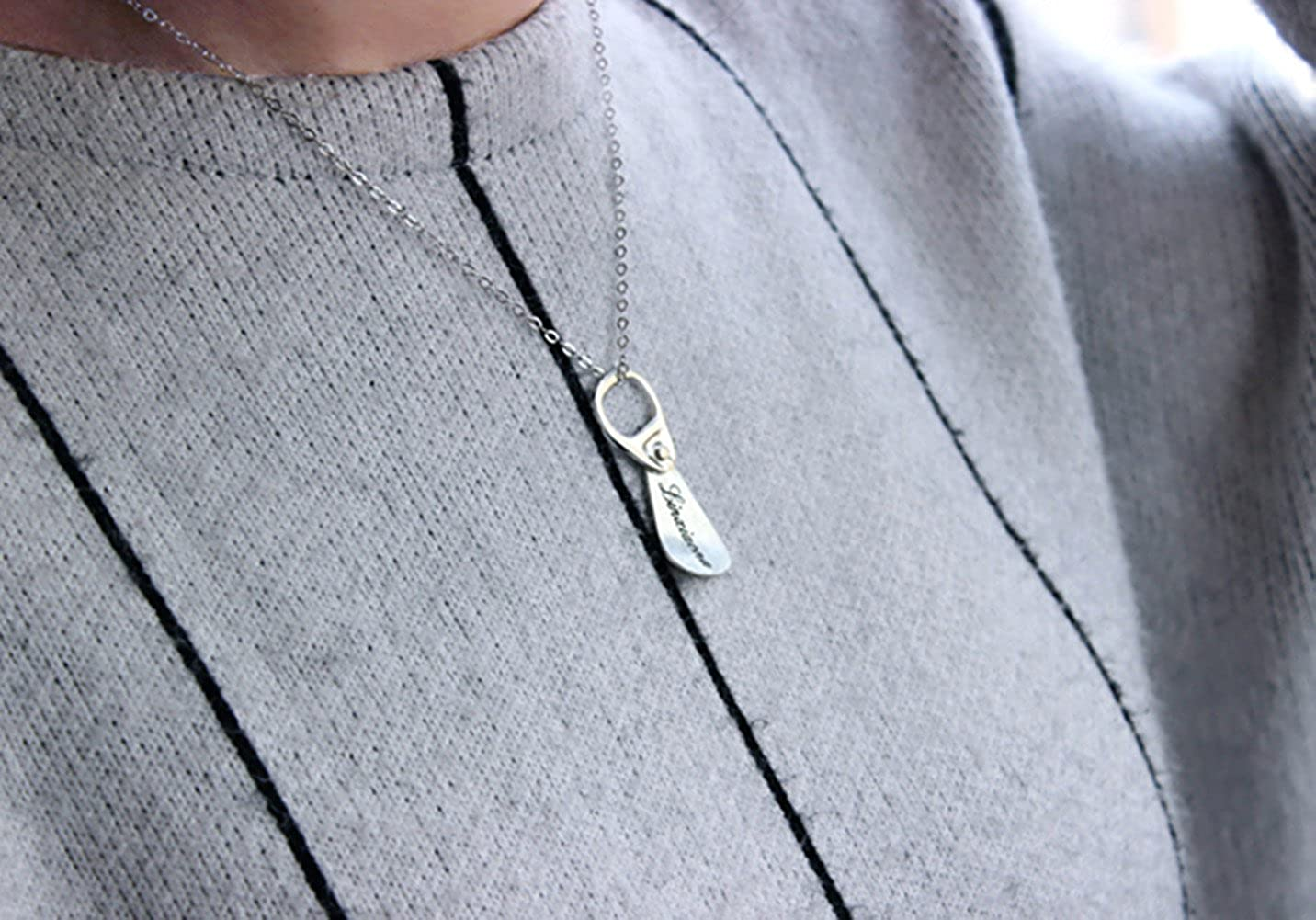 HACOOL Unisex Mens Jewelry Solid Sterling Silver Pop Can Pull Tab Necklace Custom Made with Any Names