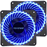 uphere 120mm blue LED Silent Fan for Computer Cases, CPU Coolers, and Radiators Ultra Quiet High Airflow Computer Case Fan, Twin Pack