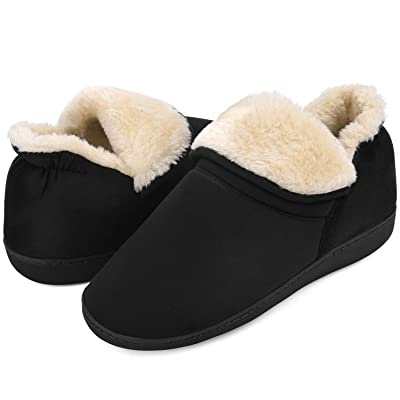 Men's Faux Fur Memory Foam Slippers Fuzzy Warm House Slippers Anti-Skid Winter Indoor Outdoor Bootie Slippers | Slippers