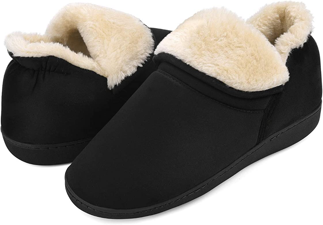 Mens Gents House Slipper Shoes Moccasins Memory Foam Plain Slip On Fur Loafers