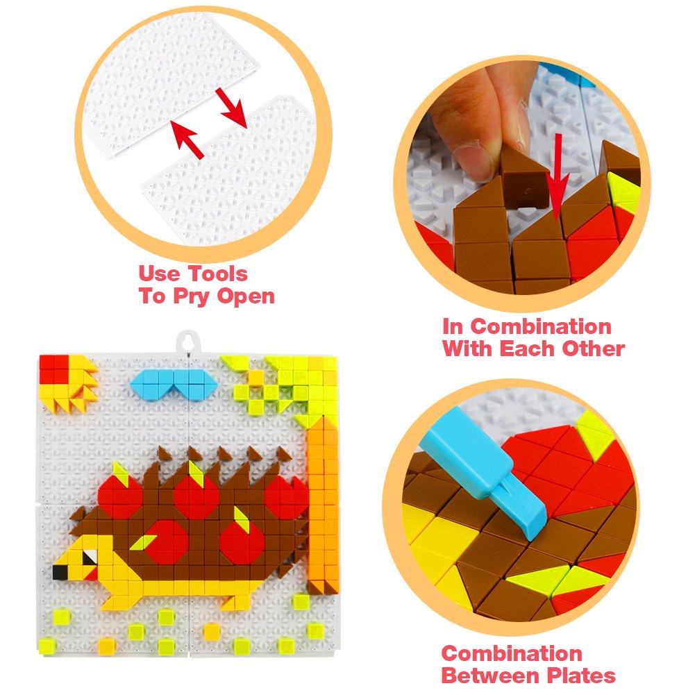 Nuheby Mosaico Bambini Gioco Creativo Bambina Puzzle Blocchi Per Bambini 4 5 6 Anni(Grande 420 PCS)