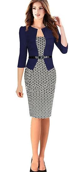 Haroty Donna Vestiti Manica a 3 4 Elegante Stampato a Pois Abito con  Cintura Vestito Business Ufficio OL Invernale e Autunno Manica Lunga Abiti  Eleganti  ... f77a2d0aae9