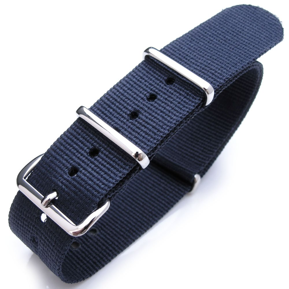 Nato Watch Band 20mm Heat Sealed G10 Nylon Polished Buckle - Navy
