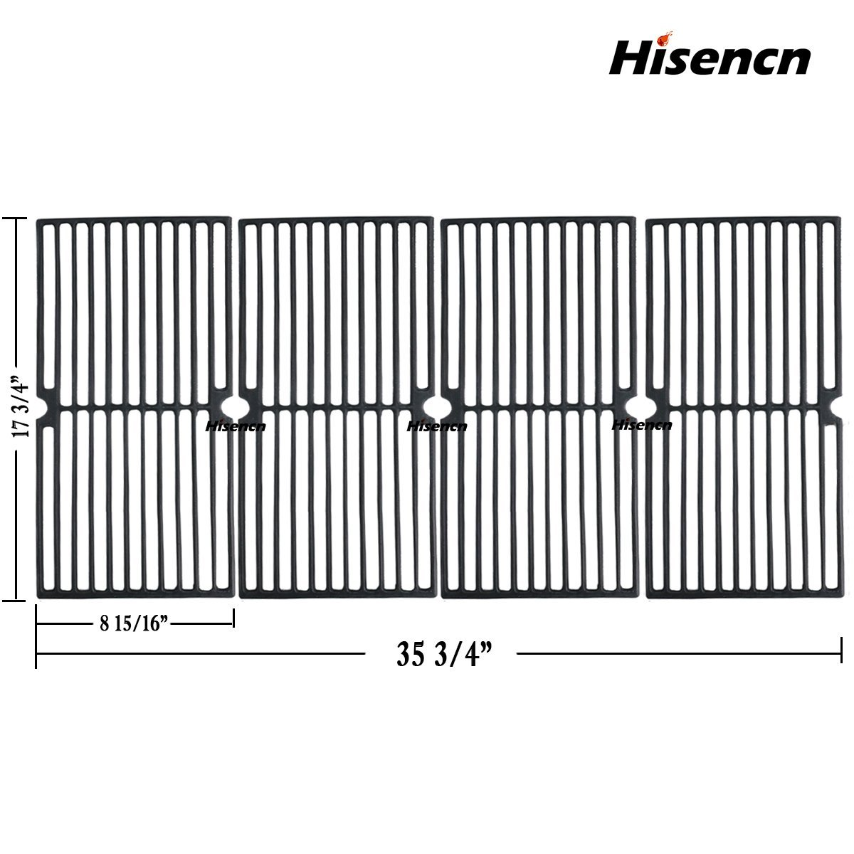 Hisencn Repair Parts Cast Iron Cooking Grid Replacement for Gas Grill Models Brinkmann 810-3660-S, 810-3661-F and Smoke Canyon GR2002401-5C-00, Grill Grates Set of 4