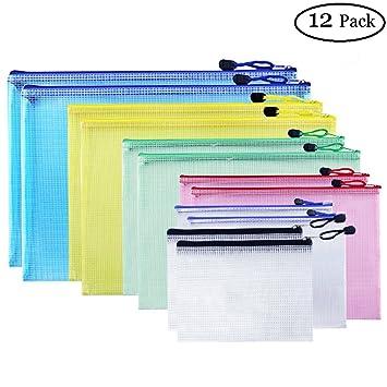 Bolsas de archivos con cremallera, bolsas de malla para documentos con cierre, carpetas de