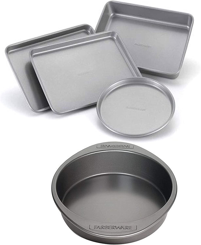 Farberware Nonstick Bakeware  4-Piece Toaster Oven Set Gray bundle with FarberwareNonstick Bakeware 9-Inch Round Cake Pan Gray