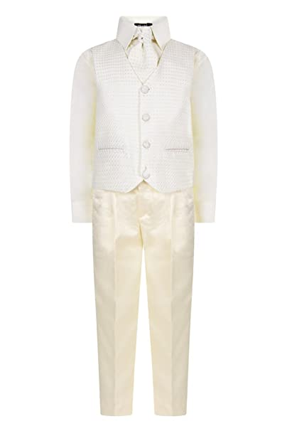 Vivaki cream waistcoat boys with tie boys newborn up to 24 months £5 FREE p/&p