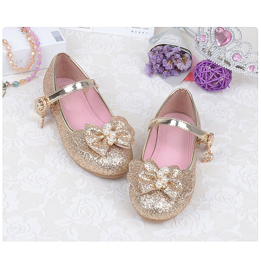 Zhhlinyuan Kids Bowknot Sequins Princess Single Shoes Girls Non-Slip Flat Shoes