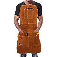 WELDINN Svetsförkläde i premiumkläder för män. Brandsäker termisk smedförkläde för workshopsvetsning med 6 fickor för…