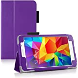 Invero® Samsung Galaxy Tab 4 7.0 Inch SM T230 T231 Slim Multi-Function Leather Case Cover with Integrated Typing Stand, Magnetic Closure Wake/Sleep Function - Purple